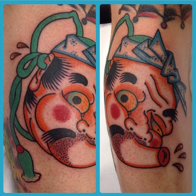 Hyottoko Tattoo by Matt Wisdom