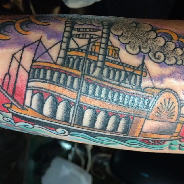 Paddle Steamer Tattoo by Jason Cline
