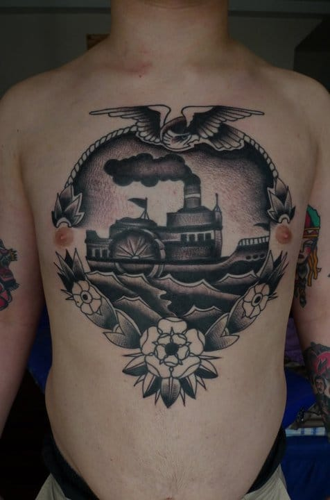 Paddle Steamer Tattoo by Rick Hardy