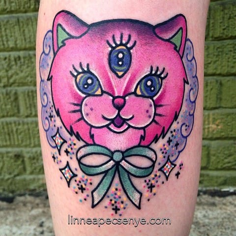 Pink & Sparkly Three Eyed Cat Tattoo by Linnea Pecsenye