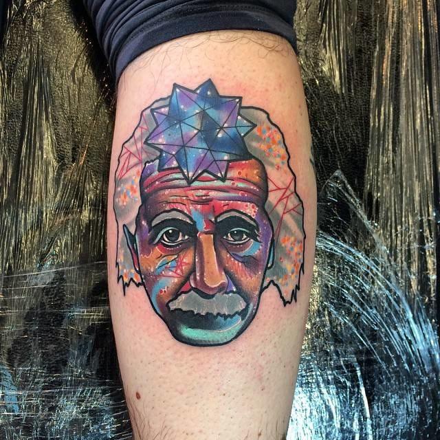 Surreal Albert Einstein tattoo