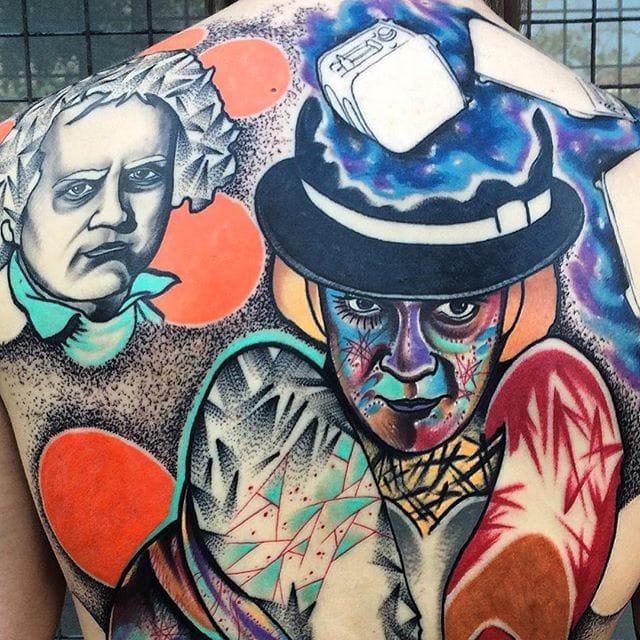 Back tattoo in progress by Andrew Marsh.