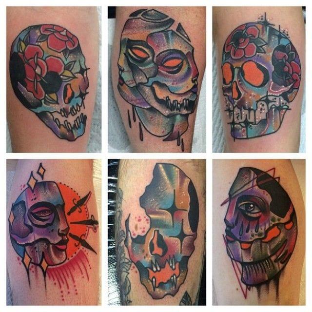 Surreal skull tattoo