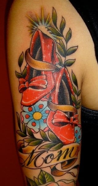 Sparkling ruby red shoes tattoo