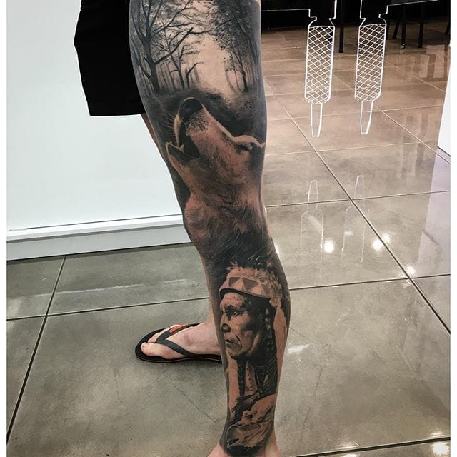 Native american leg sleeve #DrewApicture