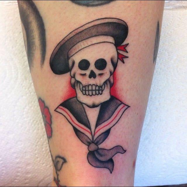 Sailor Skull Tattoo by Olivia Dawn
