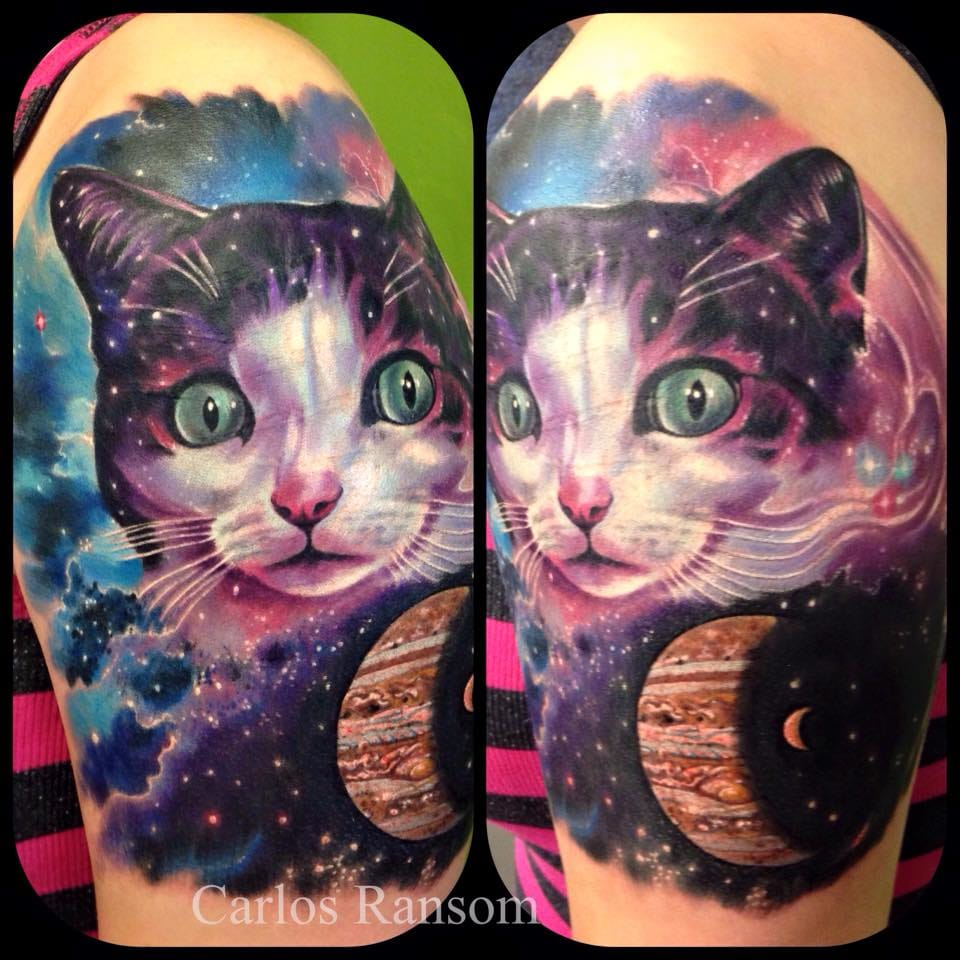 Cosmic cat tattoo