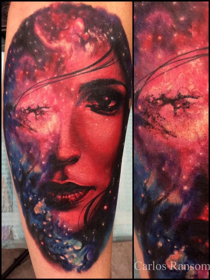 Beautiful cosmic portrait tattoo