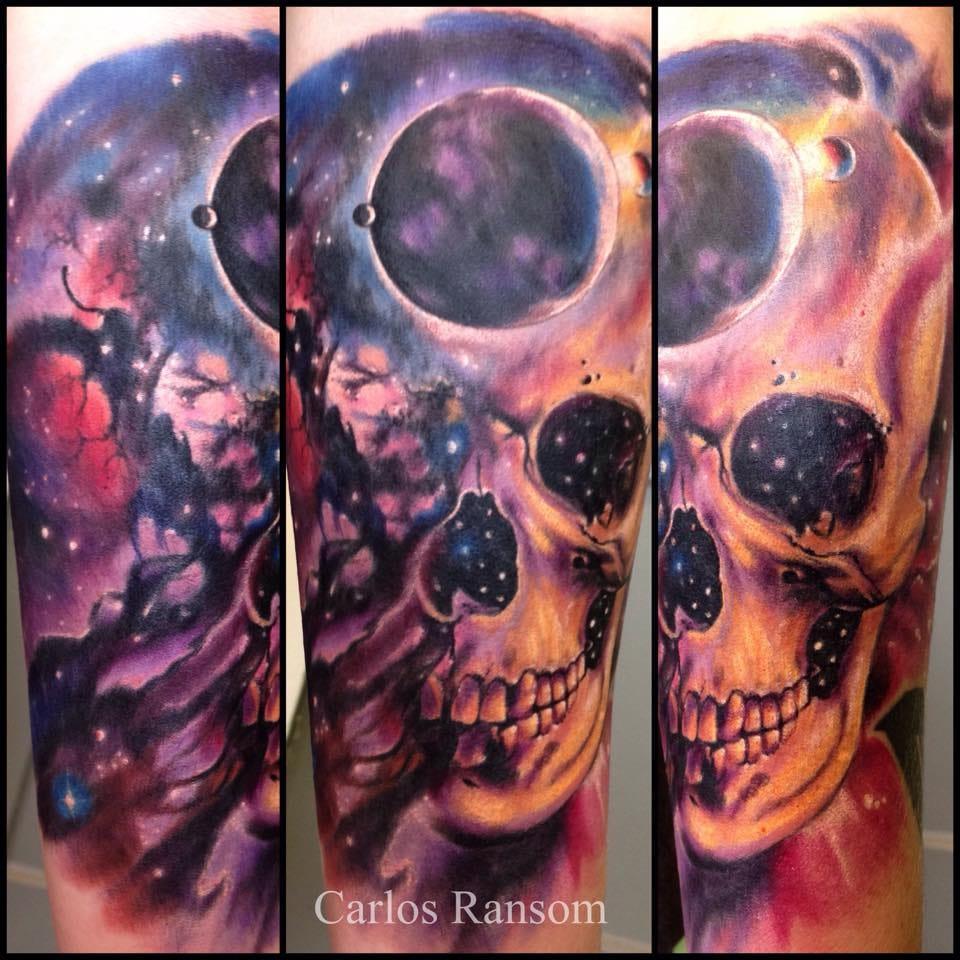Colorful cosmic skull tattoo