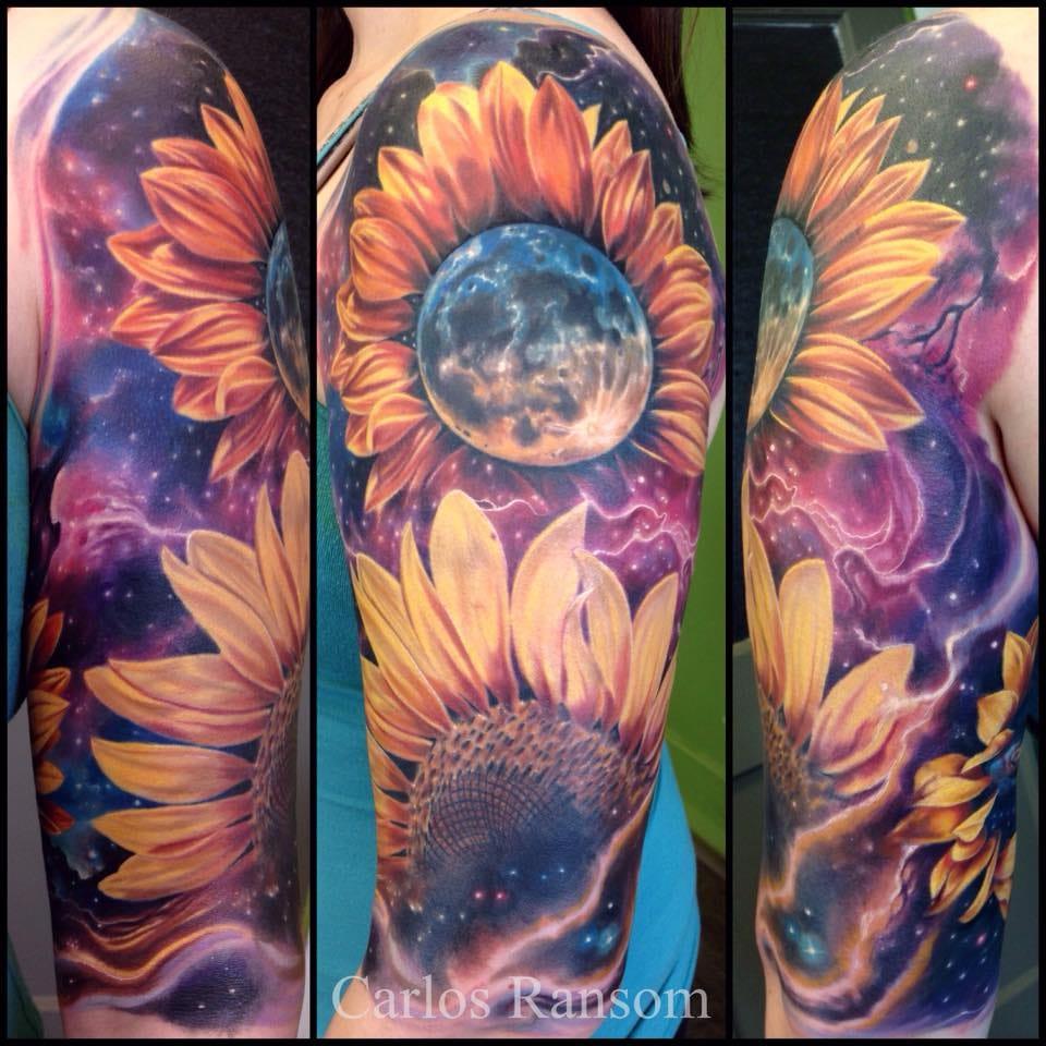 Bold cosmic sunflower tattoo