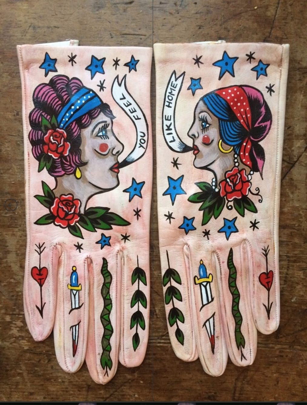 Beautiful hand-painted wearable gloves