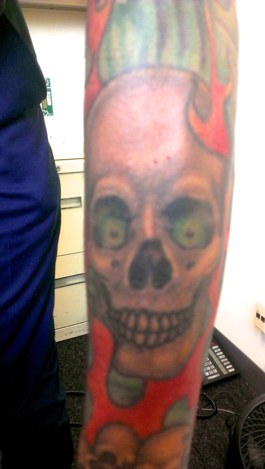 Ray Youngman did most of the work on this heavy metal inspired piece owned by Lucky Louie.