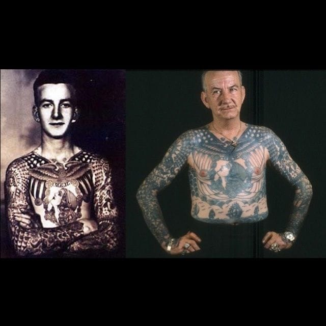 Then and now, 60 year old tattoos on Bob Shaw. All original artwork done by Bert Grimm in 1940.
