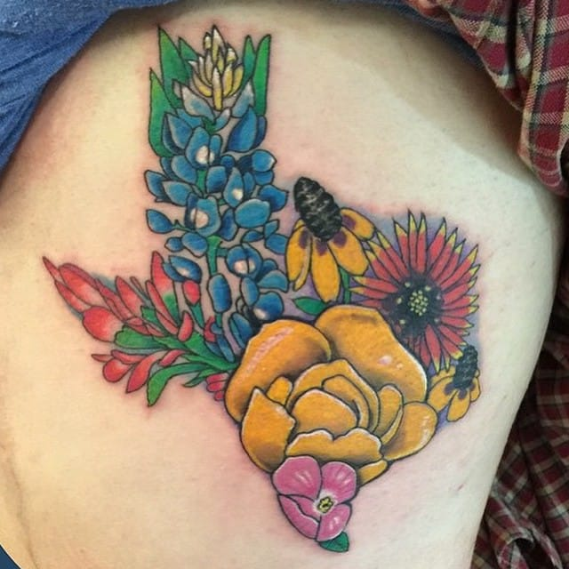 Texas Flower Tattoo by Jon Reed
