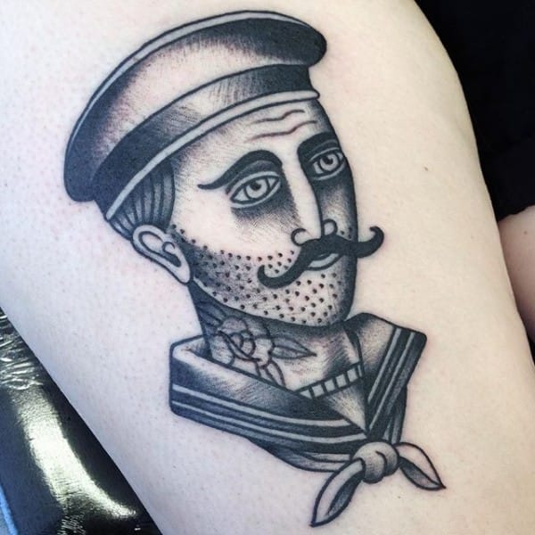 Neo traditional sailor with his own rose neck tattoo by Foulds Tattoo