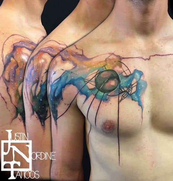 Sputnik watercolour tattoo by Instagram @therawcanvas.