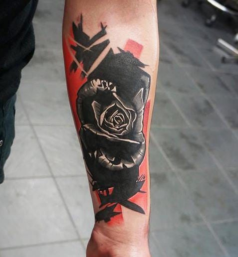 Black rose tattoo by Dynoz.