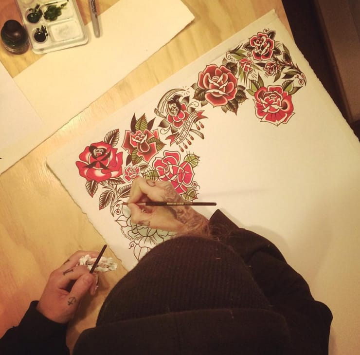 Spencer Harrington at work on his flash sheet.