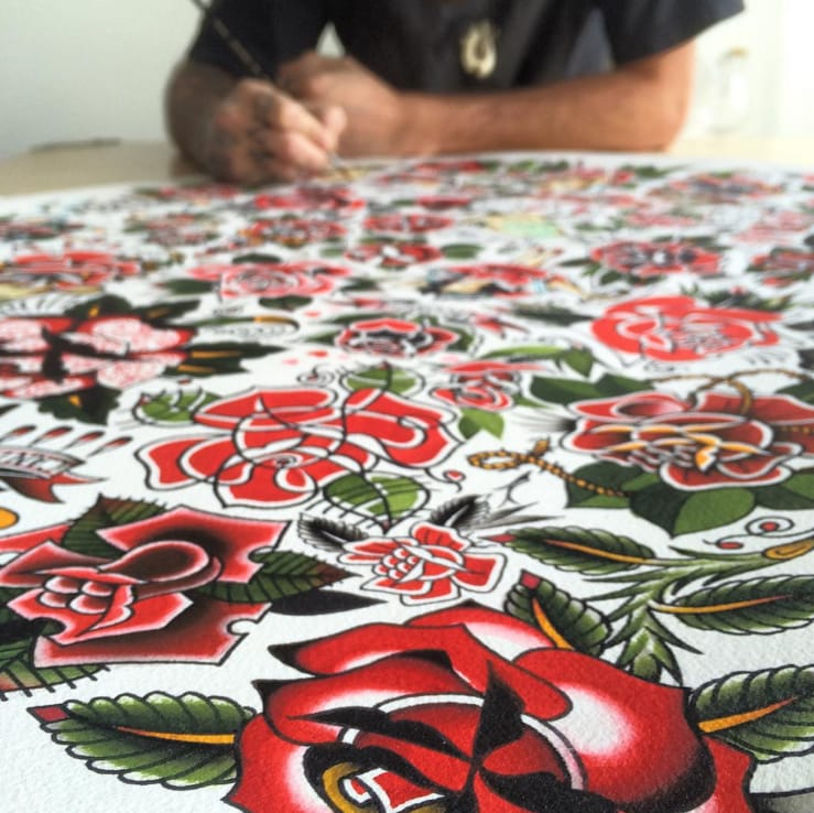 Spencer Harrington finishes up his flash sheet.