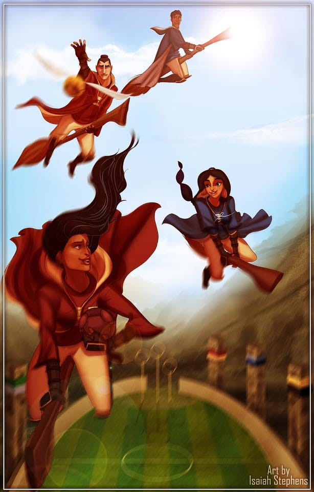 Pocahontas and Shang having a Quidditch match against Jasmine and Naveen! Who do you think would win? Art by Isaiah Stephens.