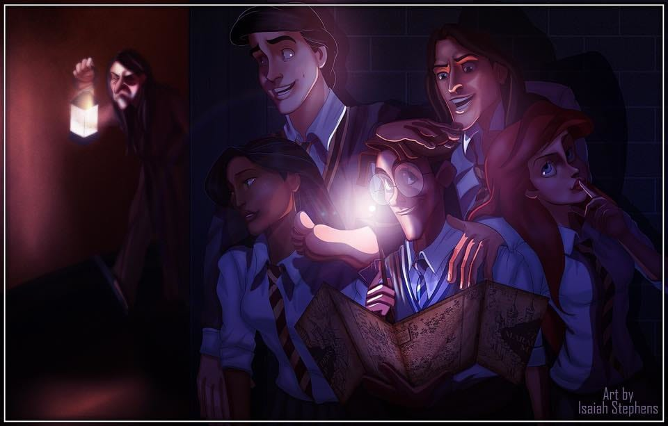 Milo Thatch leading Tarzan, Ariel, Pocahontas, and Eric on a late night adventure using the Marauders Map! Art by Isaiah Stephens.
