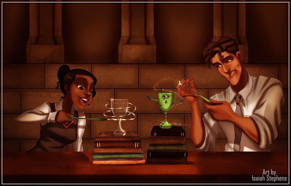 Tiana and Naveen practicing Transfiguration! Art by Isaiah Stephens.