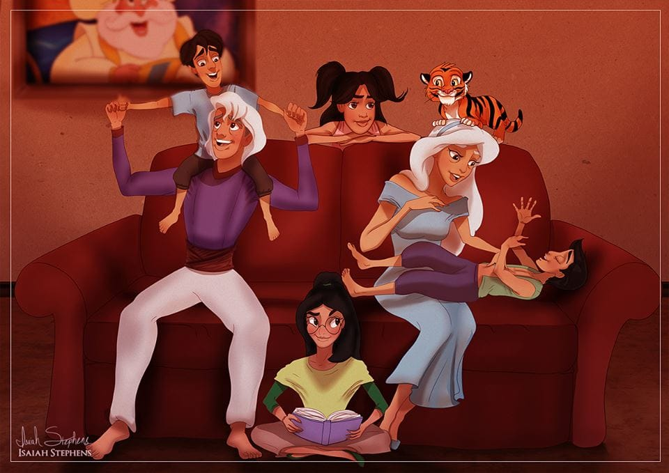Jasmine and Aladdin with their grandkids. Art by Isaiah K. Stephens.