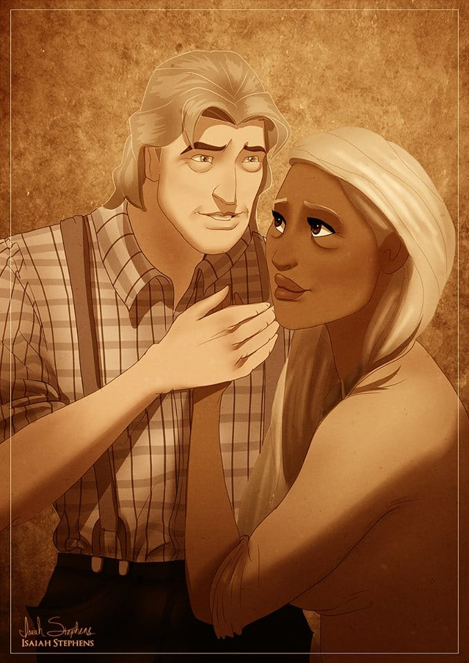 John Smith and Pocahontas many years down the line. Art by Isaiah K. Stephens.