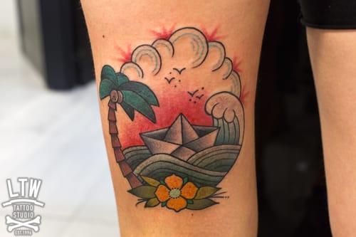 Pretty Paper Boat Tattoo done at LTW Tattoo Studio