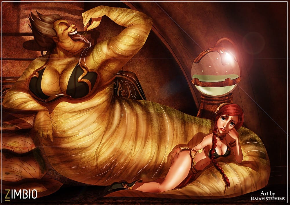 Ursula and Ariel as Jabba the Hutt and Princess Leia.