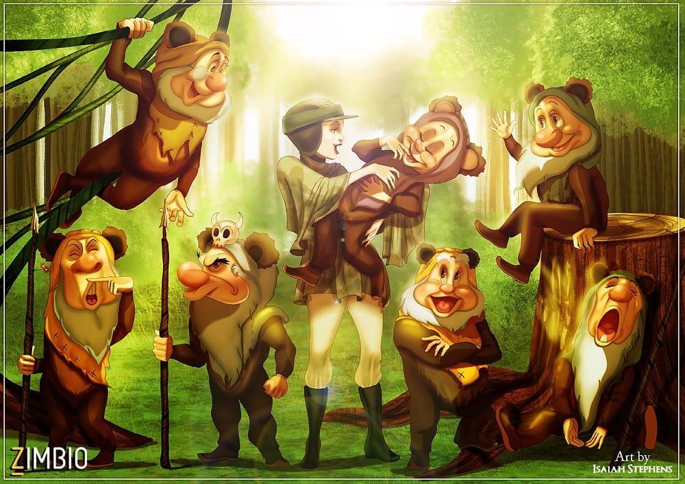Snow White & the Seven Dwarfs as Leia with the Ewoks.