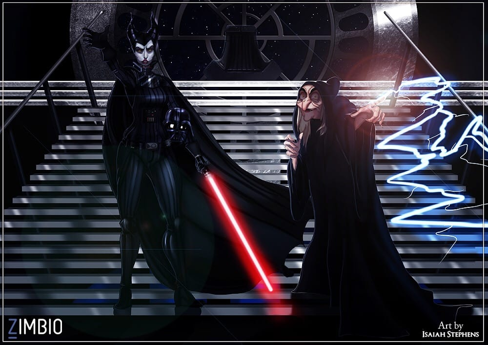 Maleficent and the Evil Queen (Incognito) as Darth Vader and the Emperor.