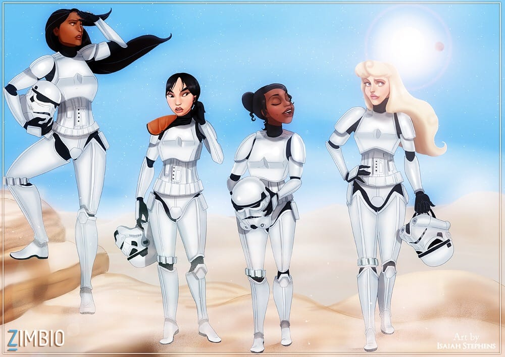 Pocahontas, Mulan, Tiana, and Aurora as Stormtroopers.