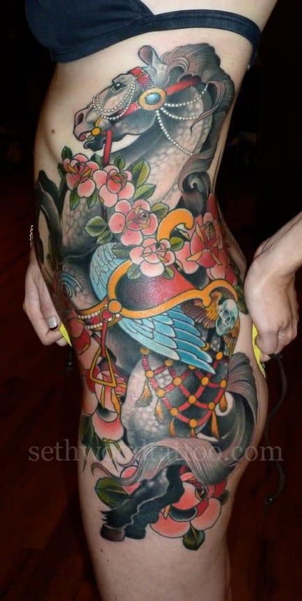 Beautiful big piece tattoo from Sethwood Tattoo. #sethwood #horsetattoo #horse