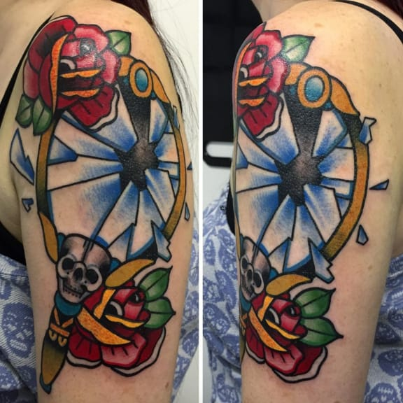 Love this colourful broken mirror by BallsyTattoo, Norwich, UK.