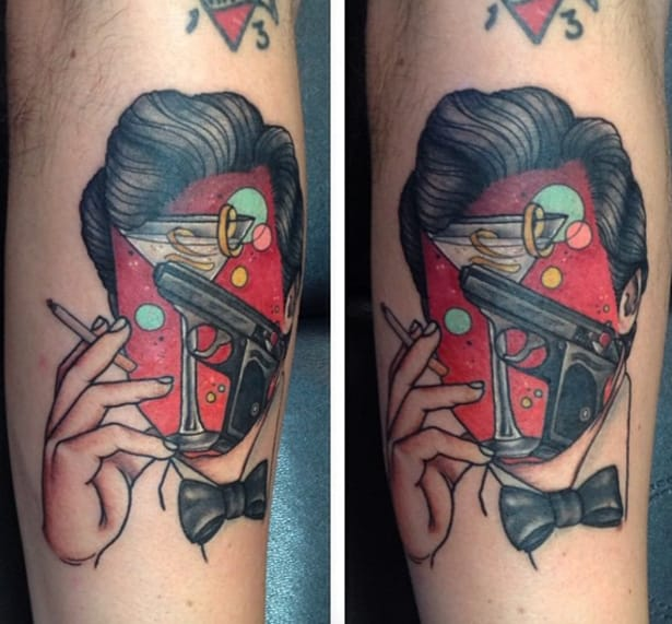 Martini, revolver, bow tie, cigarette, slick hair... couldn't be anyone other than Bond. Tattoo by Betsy Butler.
