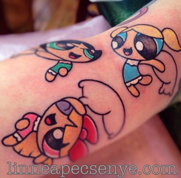 Powerpuff pillowfight! Tattoo by Linnea.