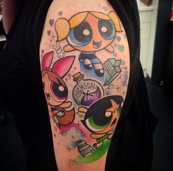 Amazing half sleeve Powerpuff tattoo by Makkala Rose, New Zealand.