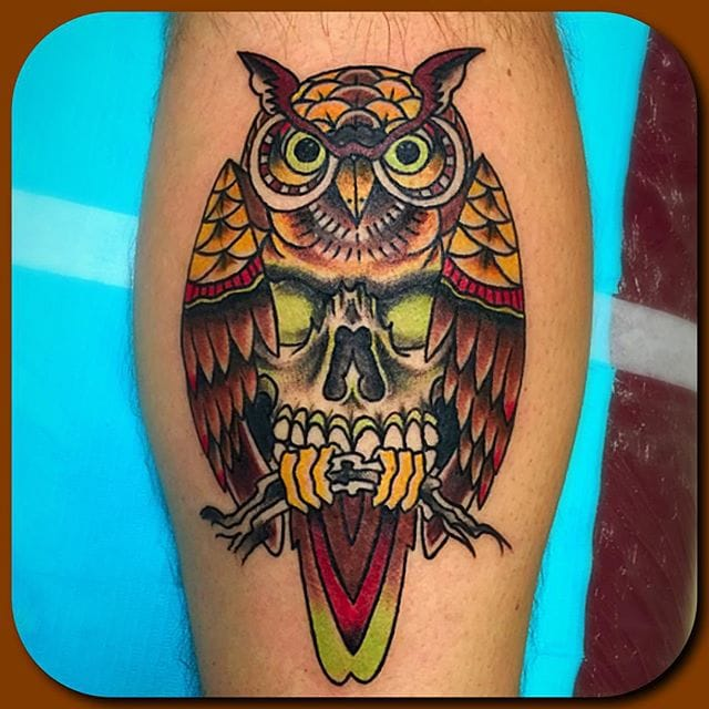 Owl Skull Tattoo by Nate Burrow