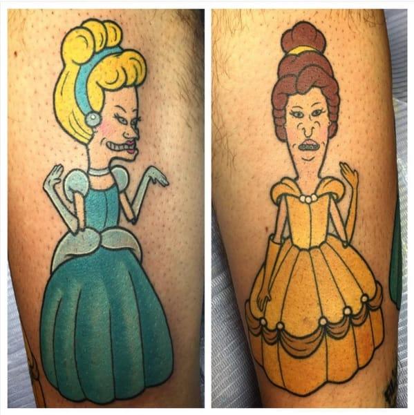 Beavis and Butt-Head as Disney princesses tattoo by Alex Strangler