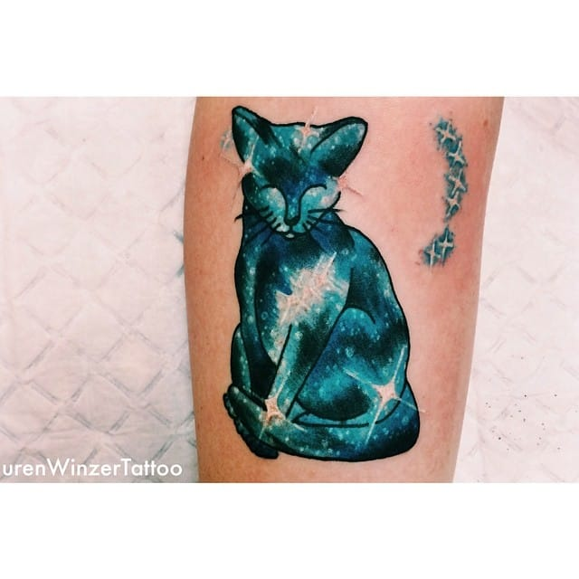 Galaxy Cat tattoo by Lauren Winzer