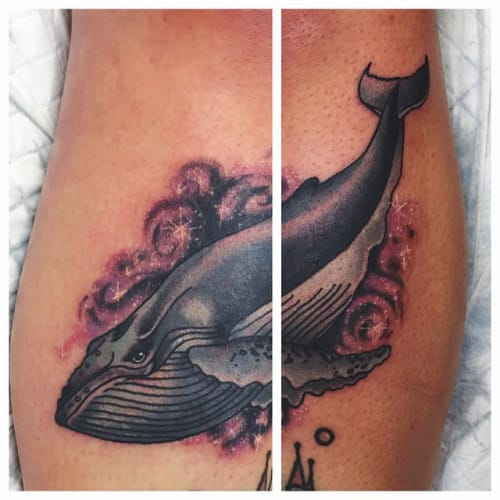 Galaxy Whale tattoo by Lauren Winzer