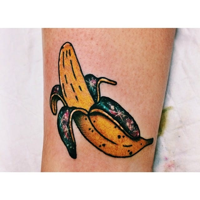 Galaxy Banana tattoo by Lauren Winzer