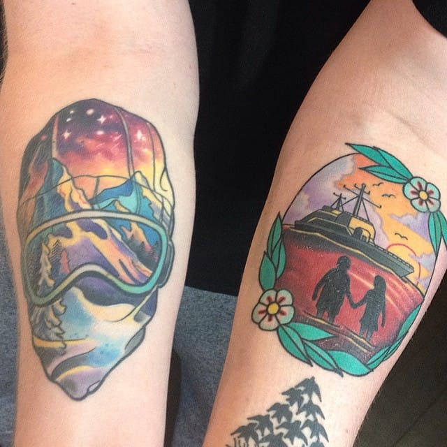 Snowboard tattoo by Mike Beddone