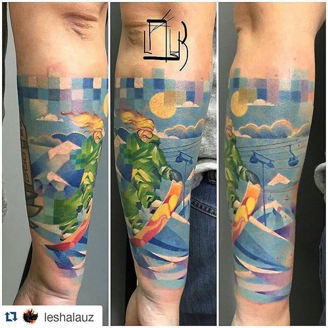 Snowboard pixel tattoo by @leshalauz
