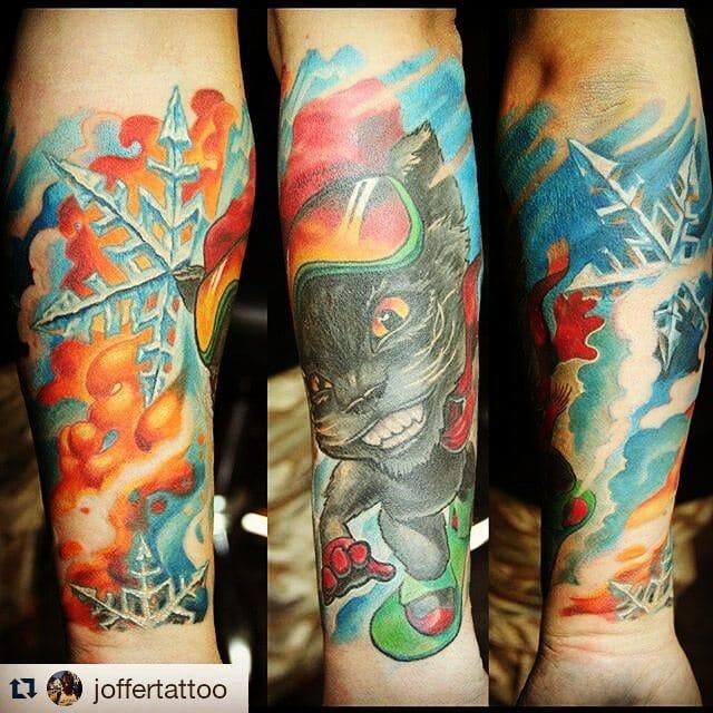 Snowboarding cat tattoo by @joffertattoo