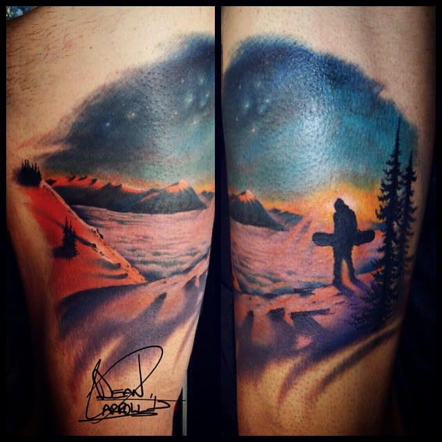 Snowboard and landscape tattoo by Dean Carroll