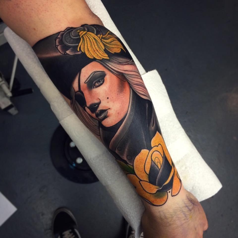 Badass pirate tattoo by Jack Goks Pearce!