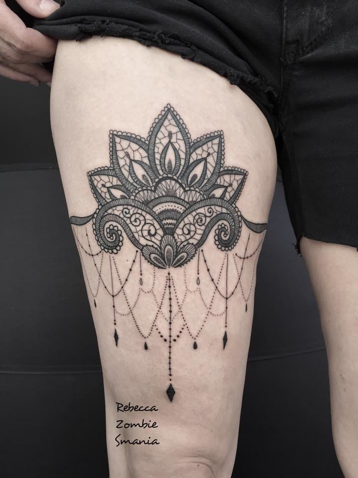 Lace garter tattoo by Rebecca Zombie Smania.