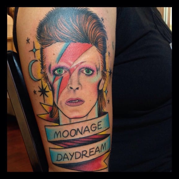 """Freak out in a moonage daydream oh yeah!"", Moonage Daydream tattoo by Ross K Jones"